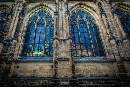 stained glass windows in cathedral