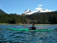 picture of kayak with Denali behind